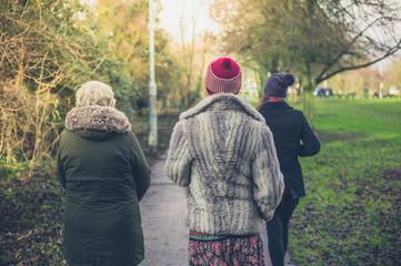 Family of three women in park