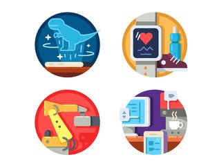 Modern technology set icons