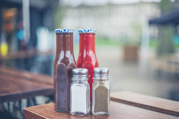 Condiments with salt and pepper