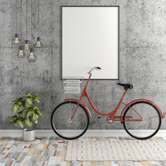 3d interior with blank frame and bicycle