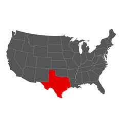 United States of America with Texas Highlighted Map