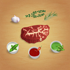 A piece of raw organic marble beef with herbs and sauces on the