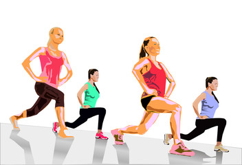 four girls trained in fitness hall doing exercise in gym isolated vector illustration.