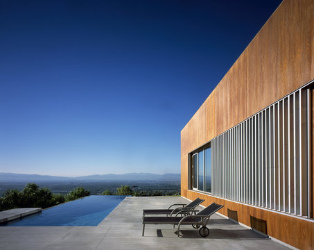 Residence,  Ranch, Los Angeles, California. Exterior with swimming pool.
