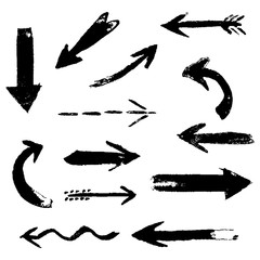 Set of hand drawing comic black ink arrows. Hand painting design elements. Vector collection on white background