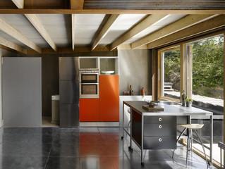 Open plan beamed kitchen