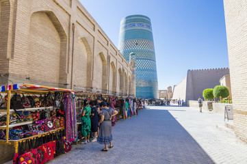 Street market in Itchan Kala, the walled inner town of the city of Khiva, Uzbekistan
