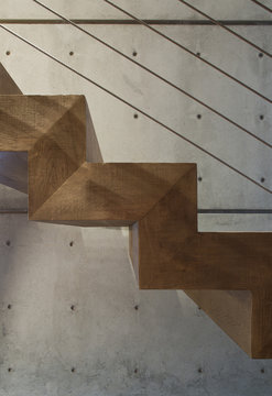 Wooden staircase detail