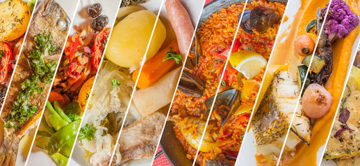 collage de plats cuisinés