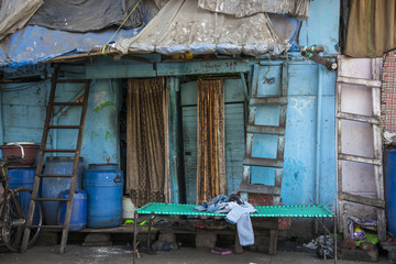 Exterior of a shack in Mumbai, India, Home