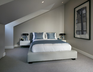Residential building, London, UK. Interior view. Bedroom.