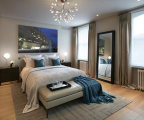 Residential building, London, UK. Interior view. Bedroom.