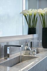 Residential building, London, UK. Interior view. Bathroom.