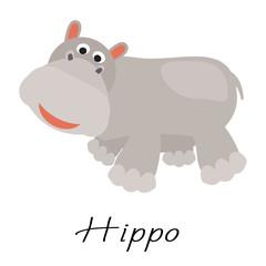 Hippopotamus wild cartoon animal vector illustration on white.