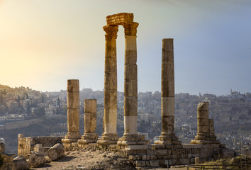 The ruins of the ancient citadel in Amman, Jordan