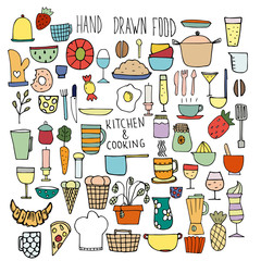 Set of icons of food. Colored doodles. Hand-drawn elements. Elements for design - Cutlery, utensils, food.