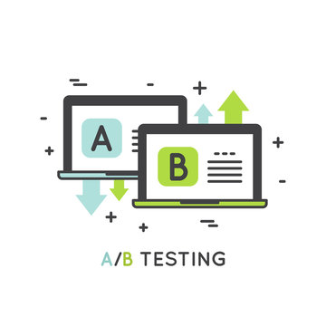 Vector Icon Style Illustration Concept of A/B Testing, Bug Fixing, User Feedback, Comparison Process, Mobile and Desktop Application Development