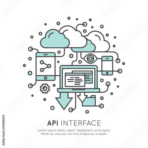 Vector Icon Style Illustration Logo of API Application