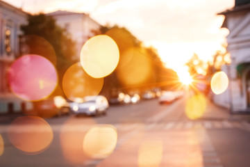 Sunset in the city, blurred background Fotomurales