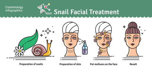 Vector Illustrated set with salon snail facial treatment