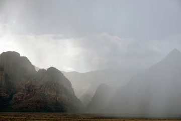 Rain over Red Rock Canyon National Conservation Area, Las Vegas, Nevada, USA.