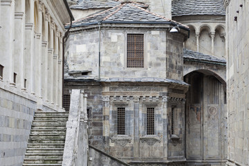 Medieval buildings in Bergamo old town, Lombardy, Italy.