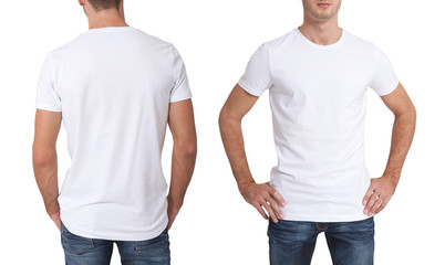 Shirt design and people concept - close up of young man in blank white t-shirt isolated.