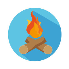 Flat Icon Of Fire And Wood With Long Shadow For Travel And Hiking