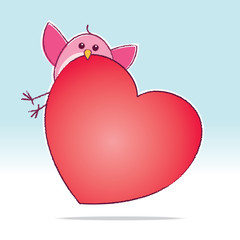 Pink Love Bird carrying a Big Red Heart
