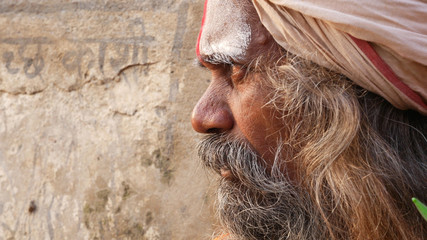 Close Up of Hindu Sadhu Holy Man Wall mural