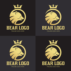 Bear logo design template, Bear head logo, Vector illustration