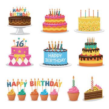 Set of Birthday Cakes. Birthday Party Elements.
