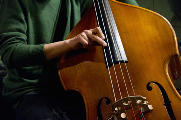 Close up jazz musician performing playing double bass