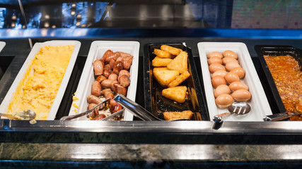 self-service buffet with meals for breakfast