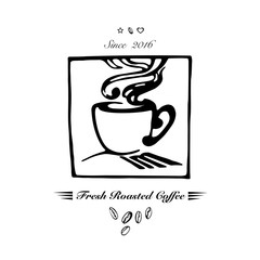 Hand drawn logo for cafe or coffee company with steaming coffee cup. Vector Illustration