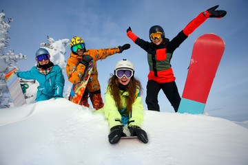 Group happy friends having fun at Sheregesh ski resort.