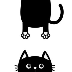 Black cat Funny face head silhouette looking up. Hanging fat body with paw print, tail. Cute cartoon character. Kawaii animal. Baby card. Pet collection. Flat design style. White background. Isolated.