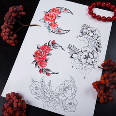Sketch the four moons of flowers on a white background.