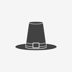 Pilgrim hat monochrome icon. Thanksgiving symbol. Vector illustration.