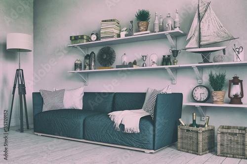 skandinavisches nordisches wohnzimmer mit einem sofa regalen und deko im retro look