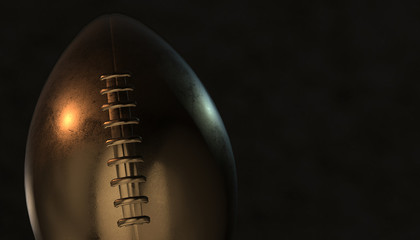 American football gold ball on background, 3d rendering