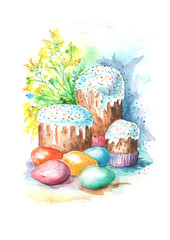 Watercolor Card Happy Easter. Vintage Picture handmade. In the illustration, cake,  painted egg, flowers, mimosa branch.