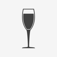 Glass of champagne monochrome icon. Vector illustration.