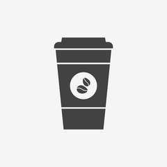 Disposable coffee cup monochrome icon. Coffee takeaway. Vector illustration.