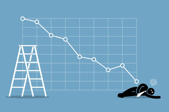 Businessman fainted on the floor as the stock market falls badly. Vector artwork depicts financial failure, bearish stock market, bad sales, business loss, and investment lost.
