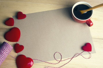 hearts with papercraft and coffee cup