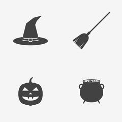 Set of Halloween monochrome icons. Witch hat, broom stick, cauldron and pumpkin. Vector illustration.