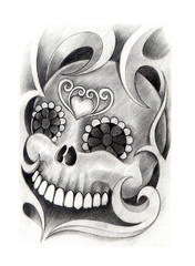 Skull tattoo. Art design skull mix  graphic for tattoo hand pencil drawing on paper.