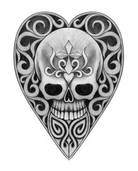 Skull heart tattoo. Art design skull mix heart and graphic for tattoo hand pencil drawing on paper.