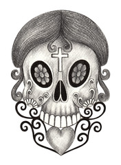 Skull  tattoo. Art design skull mix heart and graphic for tattoo hand pencil drawing on paper.